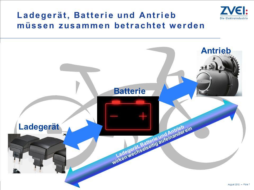 August 2012 – Folie 7 Ladegerät, Batterie und Antrieb müssen zusammen betrachtet werden < Ladegerät Batterie Antrieb Ladegerät, Batterie und Antrieb w