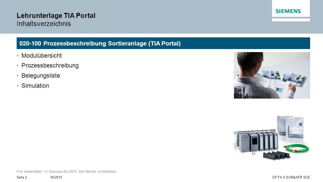 Frei verwendbar / © Siemens AG 2015. Alle Rechte vorbehalten. 09/2015Seite 2DF FA S EUR&AFR SCE Lehrunterlage TIA Portal Inhaltsverzeichnis Modulübers