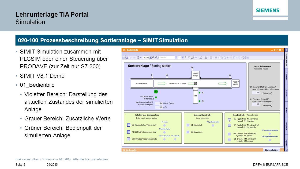 Frei verwendbar / © Siemens AG 2015. Alle Rechte vorbehalten. 09/2015Seite 8DF FA S EUR&AFR SCE Lehrunterlage TIA Portal Simulation 020-100 Prozessbes