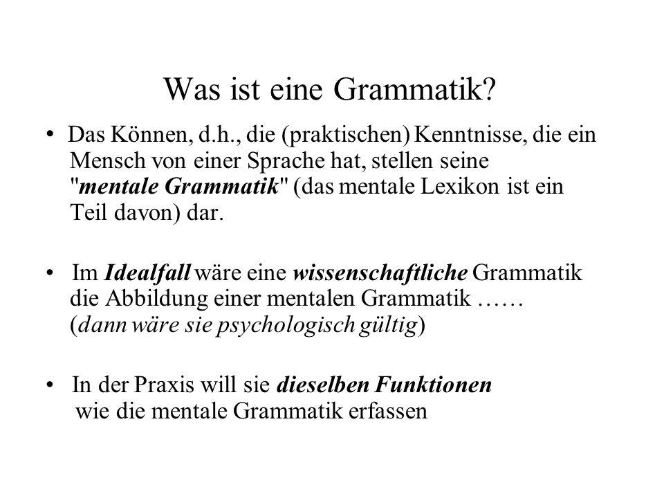 Was ist eine Grammatik? Das Können, d.h., die (praktischen) Kenntnisse, die ein Mensch von einer Sprache hat, stellen seine