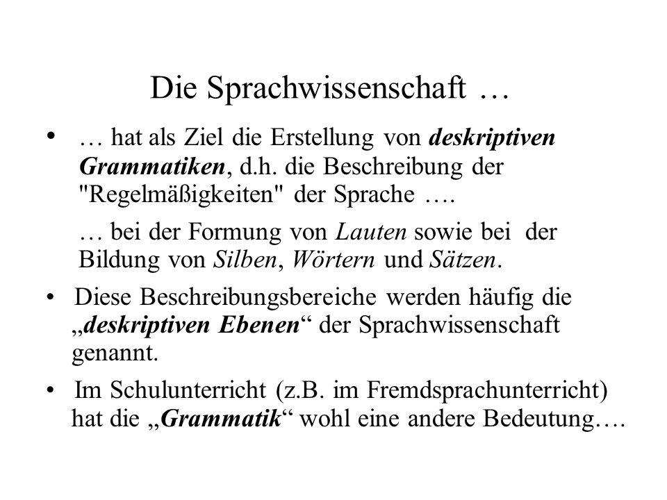 Die Sprachwissenschaft … … hat als Ziel die Erstellung von deskriptiven Grammatiken, d.h. die Beschreibung der