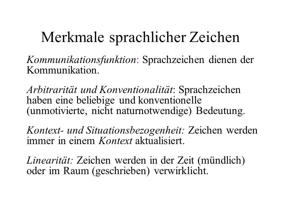 Merkmale sprachlicher Zeichen Kommunikationsfunktion: Sprachzeichen dienen der Kommunikation. Arbitrarität und Konventionalität: Sprachzeichen haben e