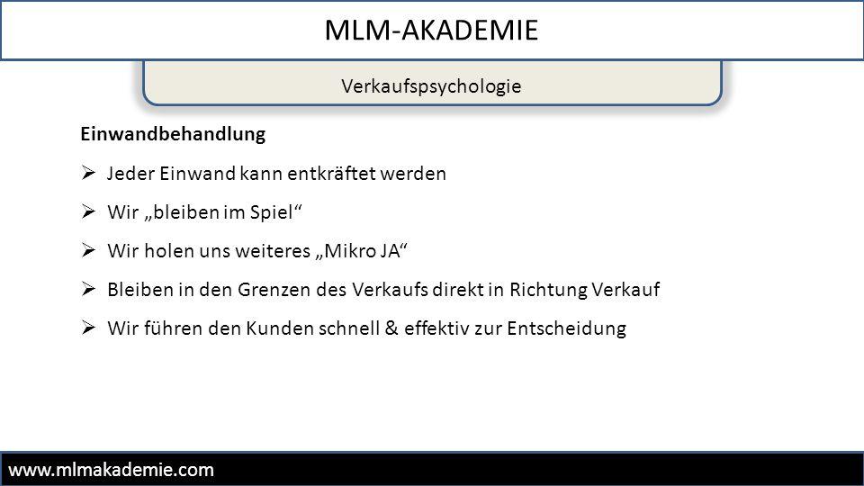 """Verkaufspsychologie MLM-AKADEMIE www.mlmakademie.com Einwandbehandlung  Jeder Einwand kann entkräftet werden  Wir """"bleiben im Spiel""""  Wir holen uns"""