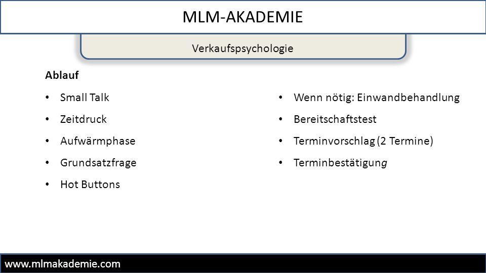 Verkaufspsychologie MLM-AKADEMIE www.mlmakademie.com Ablauf Small Talk Zeitdruck Aufwärmphase Grundsatzfrage Hot Buttons Wenn nötig: Einwandbehandlung