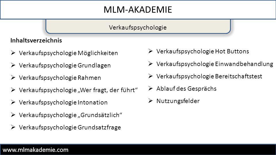MLM-AKADEMIE www.mlmakademie.com Inhaltsverzeichnis  Verkaufspsychologie Möglichkeiten  Verkaufspsychologie Grundlagen  Verkaufspsychologie Rahmen