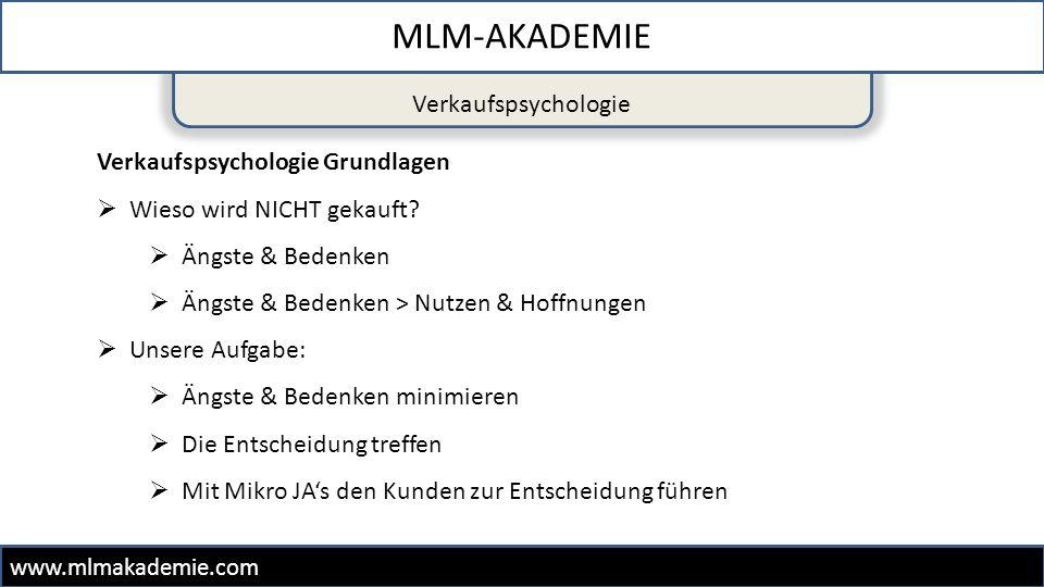 Verkaufspsychologie MLM-AKADEMIE www.mlmakademie.com Verkaufspsychologie Grundlagen  Wieso wird NICHT gekauft?  Ängste & Bedenken  Ängste & Bedenke