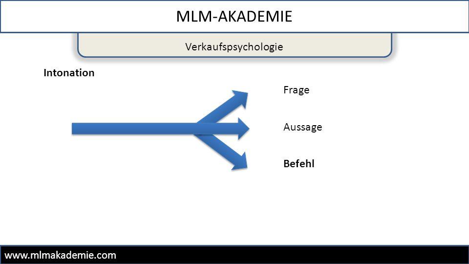 Verkaufspsychologie MLM-AKADEMIE www.mlmakademie.com Intonation Aussage Frage Befehl