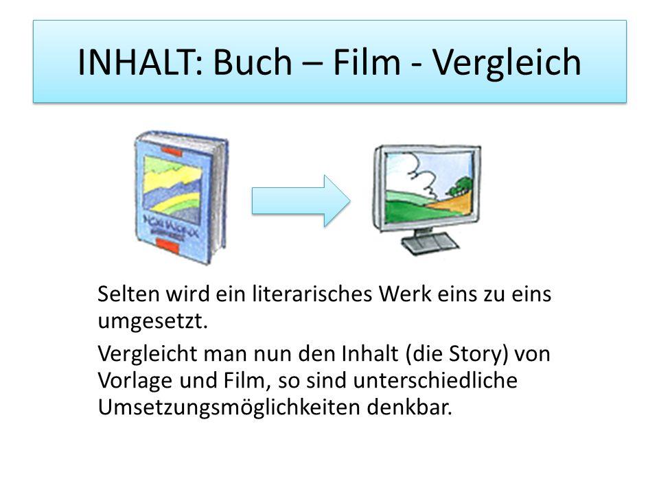 INHALT: Buch – Film - Vergleich Selten wird ein literarisches Werk eins zu eins umgesetzt. Vergleicht man nun den Inhalt (die Story) von Vorlage und F