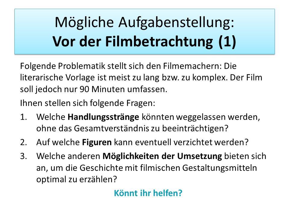 Mögliche Aufgabenstellung: Vor der Filmbetrachtung (1) Folgende Problematik stellt sich den Filmemachern: Die literarische Vorlage ist meist zu lang b