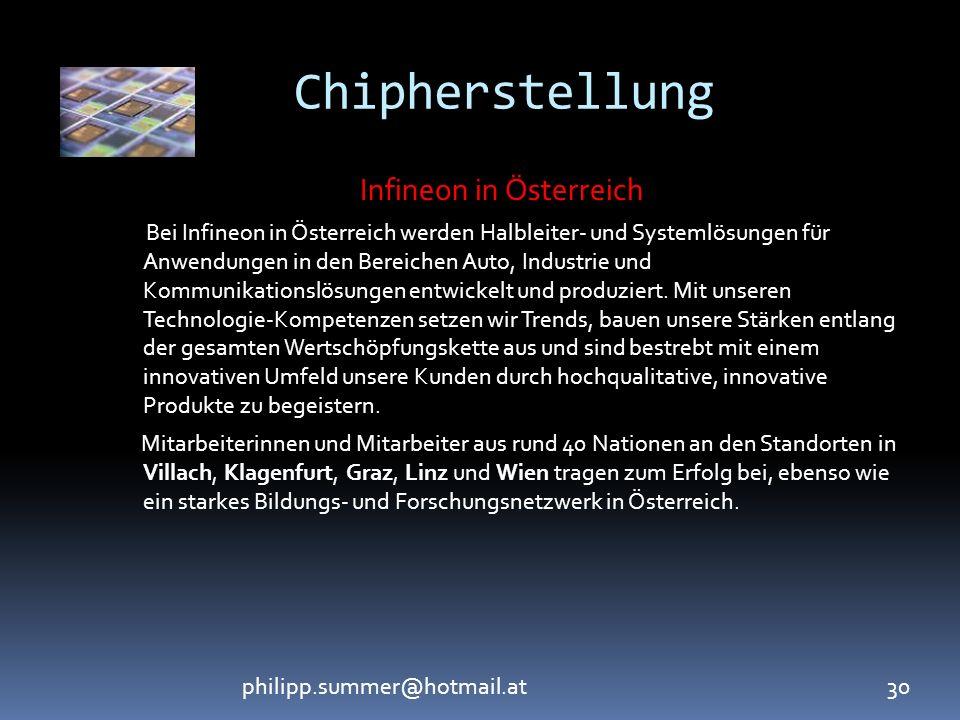 philipp.summer@hotmail.at30 Chipherstellung Infineon in Österreich Bei Infineon in Österreich werden Halbleiter- und Systemlösungen für Anwendungen in den Bereichen Auto, Industrie und Kommunikationslösungen entwickelt und produziert.