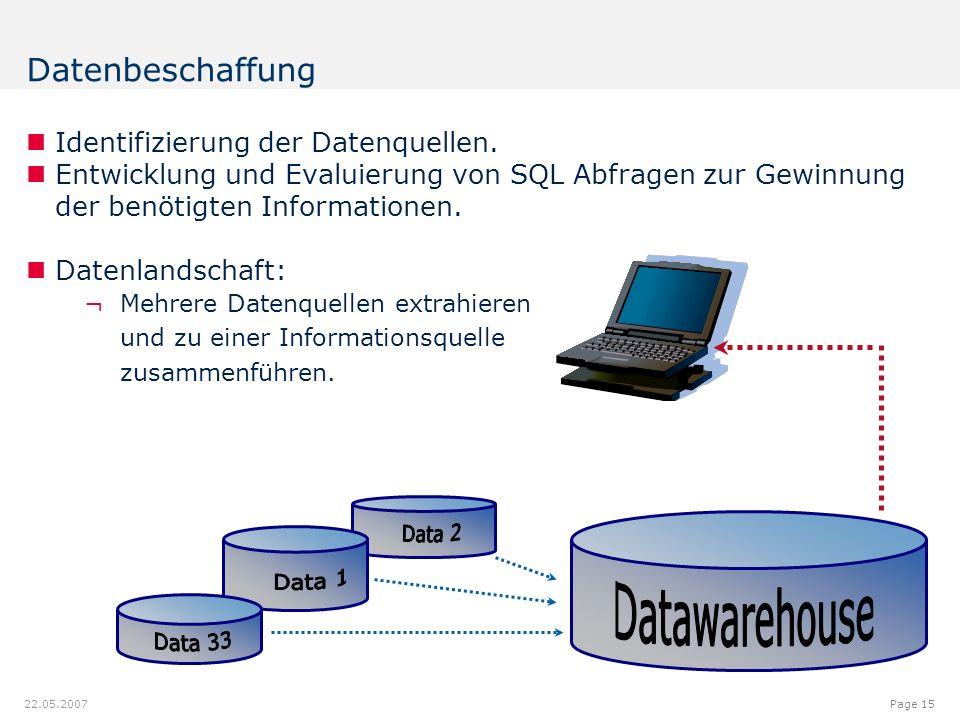12.00.012.08.9 7.18 9.20 8.60 6.40 6.20 6.40 6.80 6.20 5.00 Page 15 22.05.2007 Identifizierung der Datenquellen. Entwicklung und Evaluierung von SQL A