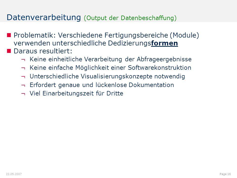12.00.012.08.9 7.18 9.20 8.60 6.40 6.20 6.40 6.80 6.20 5.00 Page 16 22.05.2007 Datenverarbeitung (Output der Datenbeschaffung) Problematik: Verschiedene Fertigungsbereiche (Module) verwenden unterschiedliche Dedizierungsformen Daraus resultiert: ¬Keine einheitliche Verarbeitung der Abfrageergebnisse ¬Keine einfache Möglichkeit einer Softwarekonstruktion ¬Unterschiedliche Visualisierungskonzepte notwendig ¬Erfordert genaue und lückenlose Dokumentation ¬Viel Einarbeitungszeit für Dritte