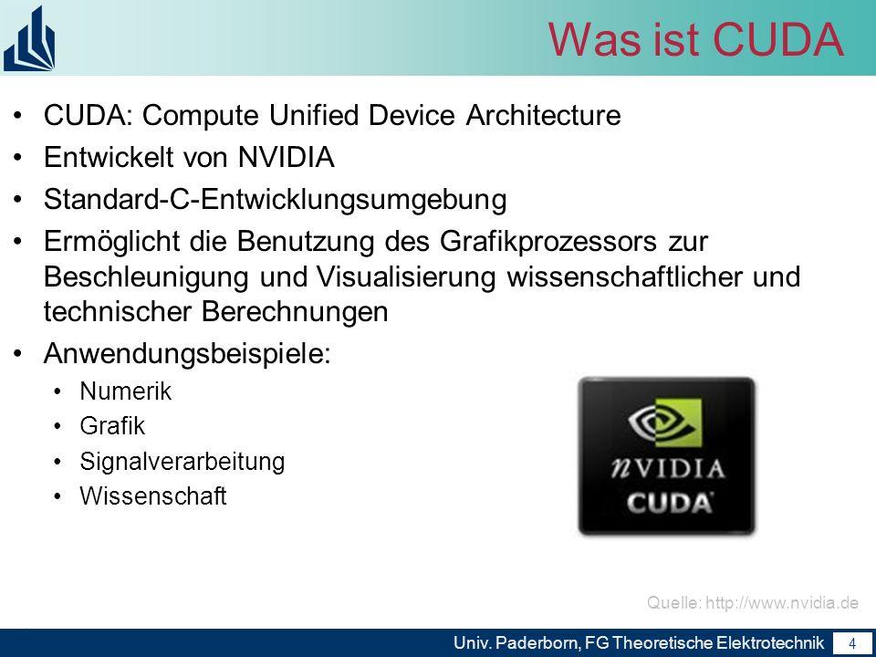 5 Univ.Paderborn, FG Theoretische Elektrotechnik 5 GPU vs.