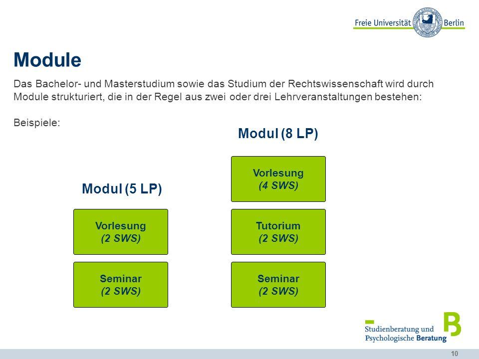 10 Module Das Bachelor- und Masterstudium sowie das Studium der Rechtswissenschaft wird durch Module strukturiert, die in der Regel aus zwei oder drei