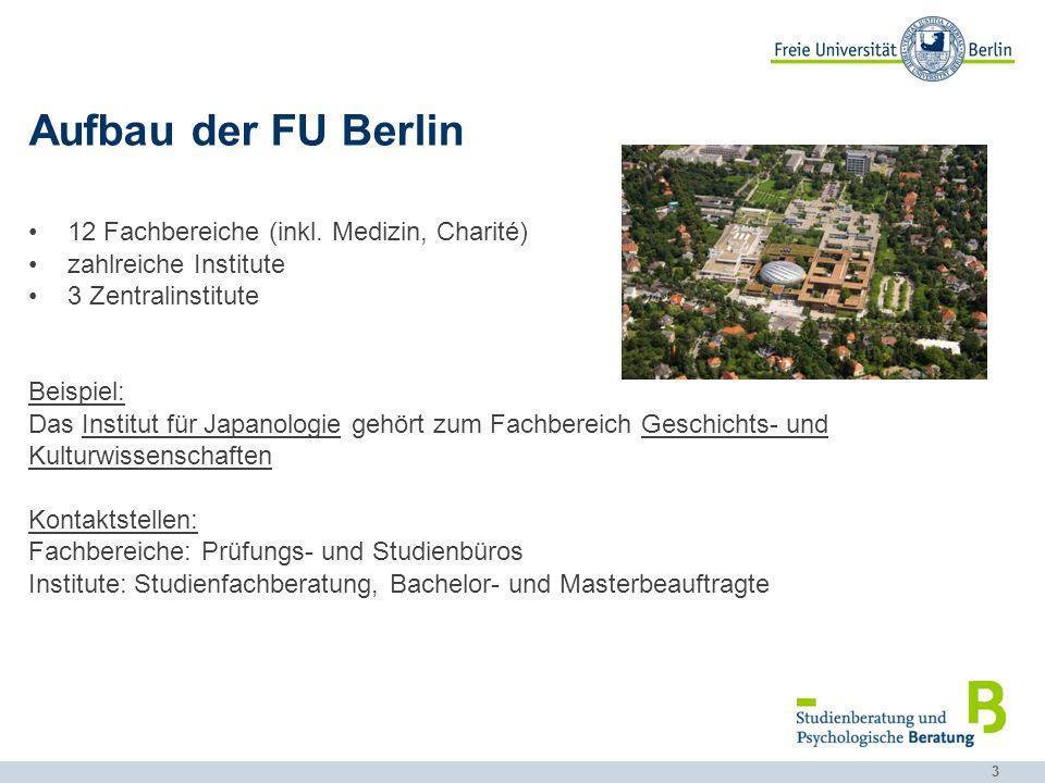 3 Aufbau der FU Berlin 12 Fachbereiche (inkl. Medizin, Charité) zahlreiche Institute 3 Zentralinstitute Beispiel: Das Institut für Japanologie gehört