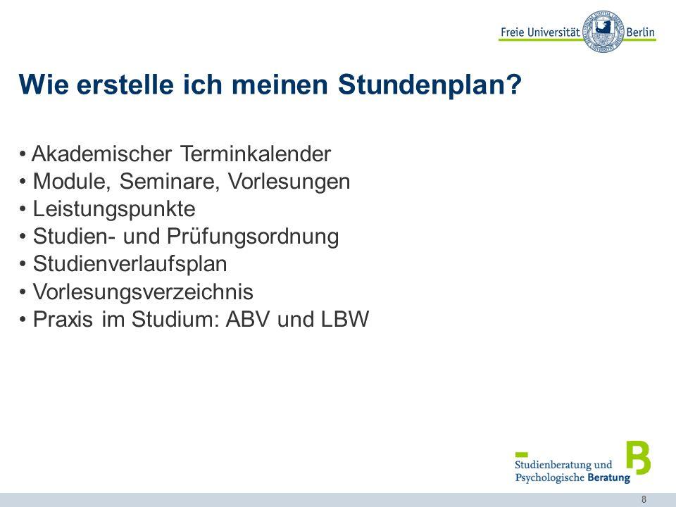 9 Akademischer Kalender http://www.fu-berlin.de/studium/studienorganisation/termine/index.html …beinhaltet sämtliche wichtige und allgemeine Fristen und Termine!