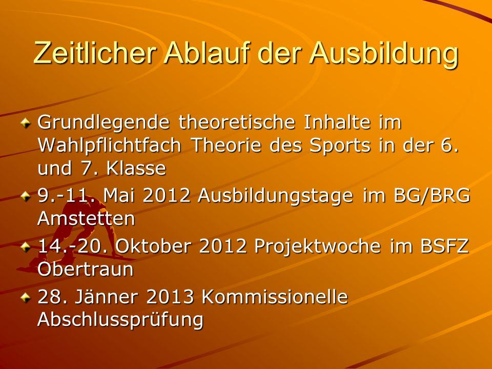 Zeitlicher Ablauf der Ausbildung Grundlegende theoretische Inhalte im Wahlpflichtfach Theorie des Sports in der 6. und 7. Klasse 9.-11. Mai 2012 Ausbi