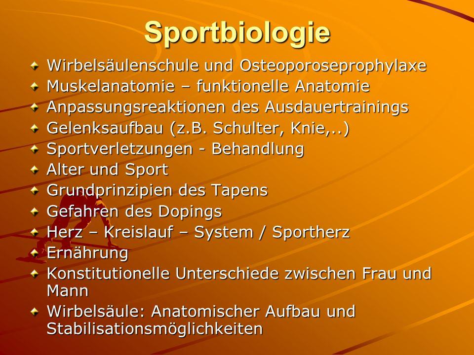 Sportbiologie Wirbelsäulenschule und Osteoporoseprophylaxe Muskelanatomie – funktionelle Anatomie Anpassungsreaktionen des Ausdauertrainings Gelenksau