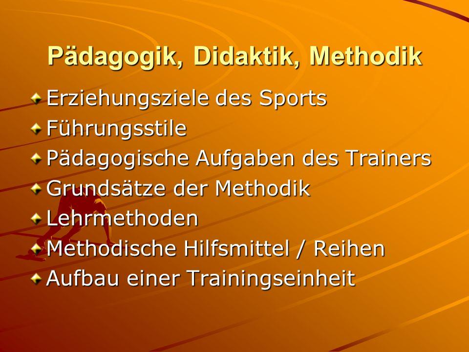 Pädagogik, Didaktik, Methodik Erziehungsziele des Sports Führungsstile Pädagogische Aufgaben des Trainers Grundsätze der Methodik Lehrmethoden Methodi