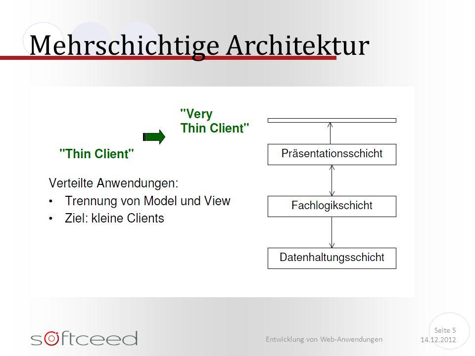 Mehrschichtige Architektur Entwicklung von Web-Anwendungen Seite 5 14.12.2012
