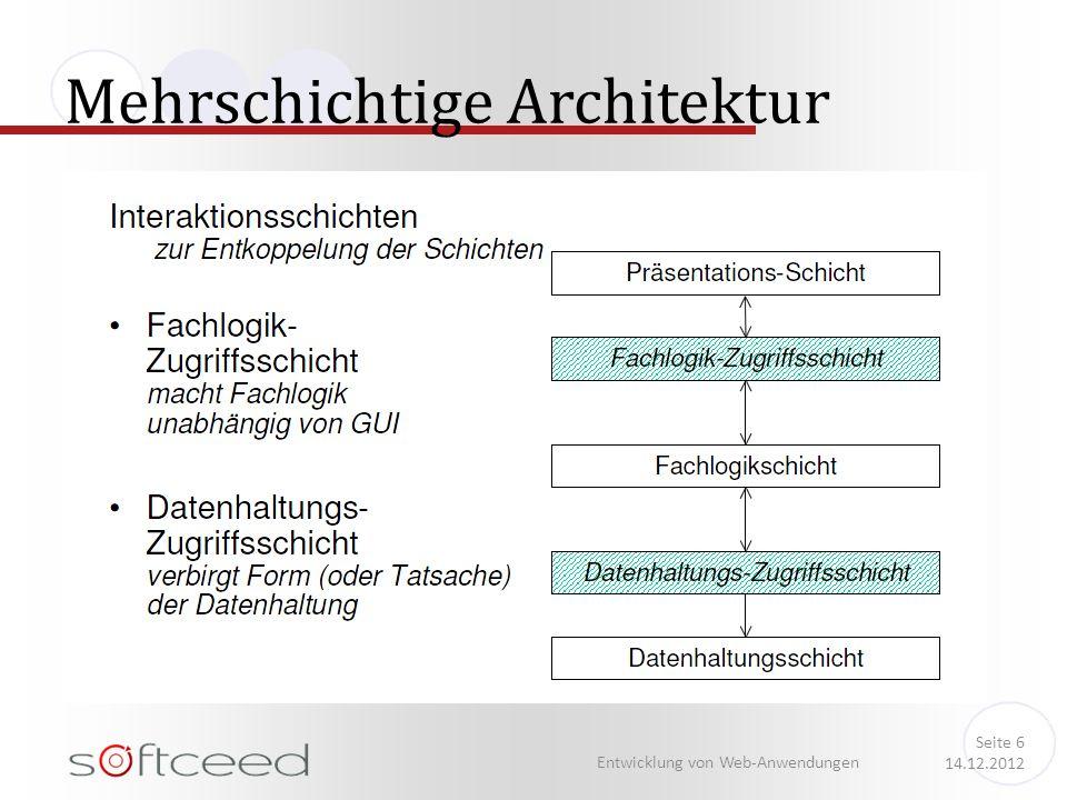 Mehrschichtige Architektur Entwicklung von Web-Anwendungen Seite 6 14.12.2012