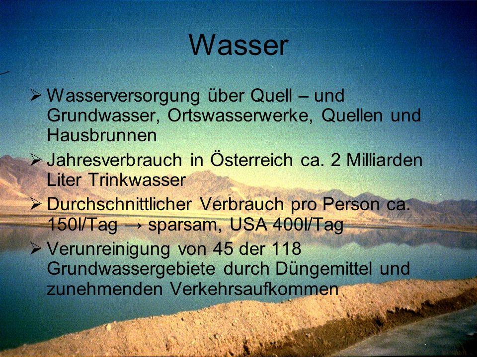 Wasser  Wasserversorgung über Quell – und Grundwasser, Ortswasserwerke, Quellen und Hausbrunnen  Jahresverbrauch in Österreich ca. 2 Milliarden Lite