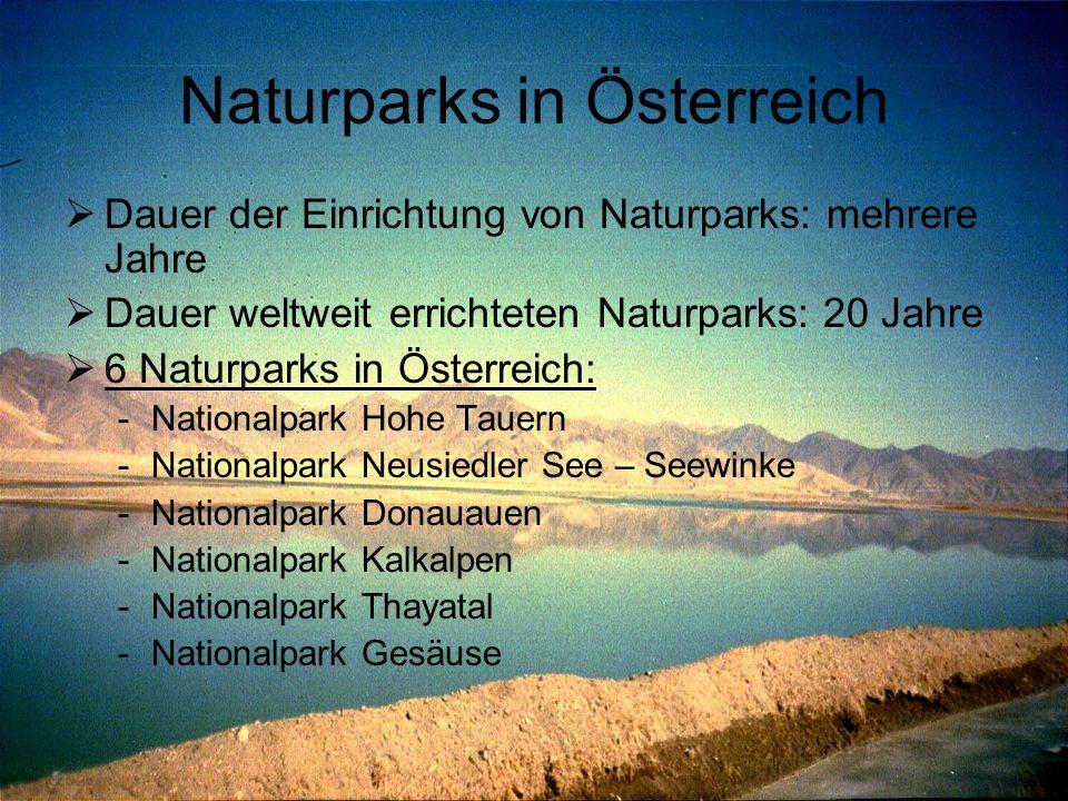 Naturparks in Österreich  Dauer der Einrichtung von Naturparks: mehrere Jahre  Dauer weltweit errichteten Naturparks: 20 Jahre  6 Naturparks in Öst