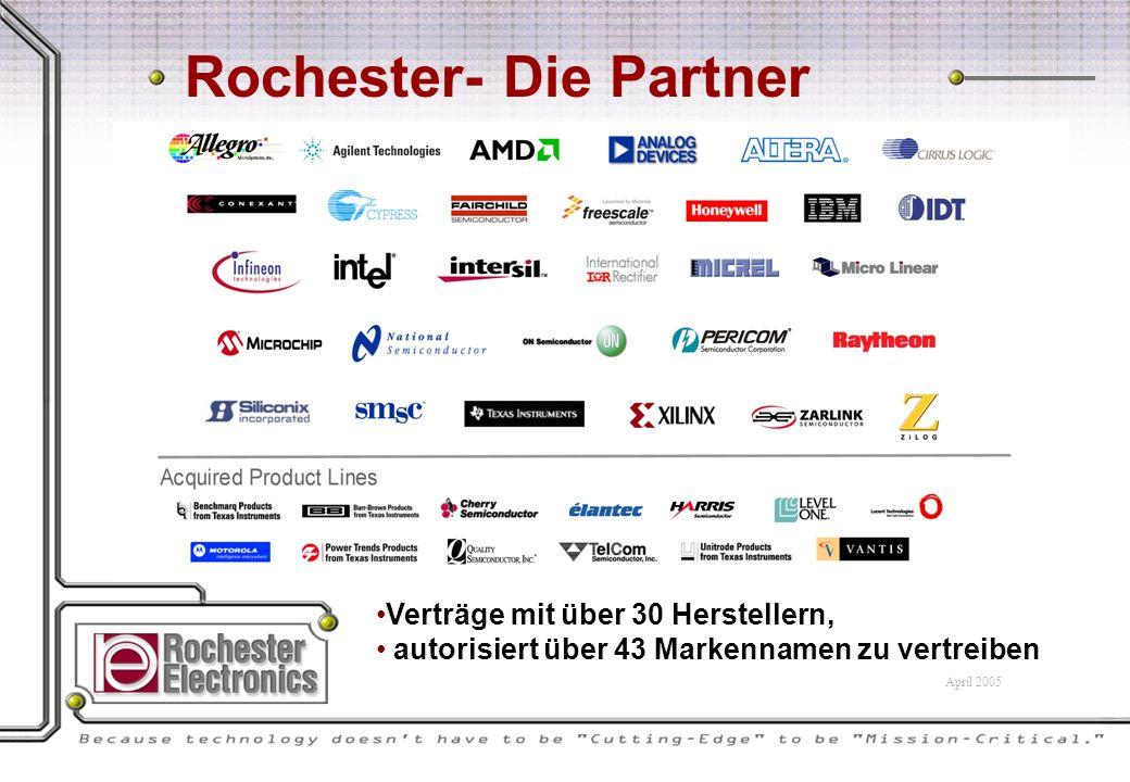 Rochester- Die Partner Verträge mit über 30 Herstellern, autorisiert über 43 Markennamen zu vertreiben April 2005