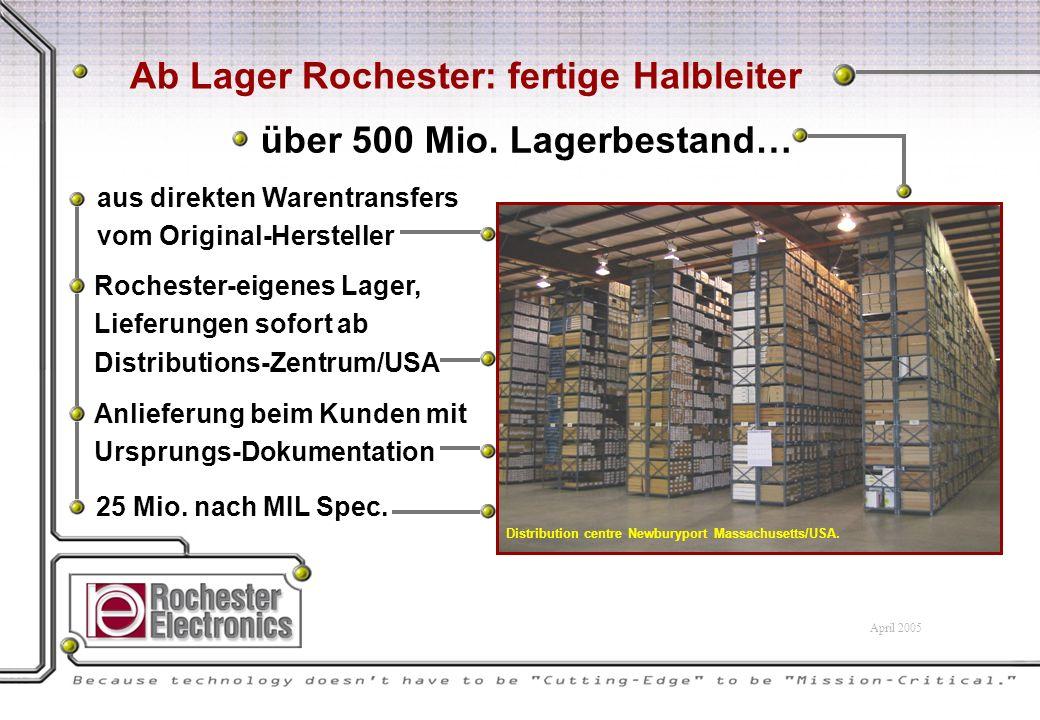 aus direkten Warentransfers vom Original-Hersteller Anlieferung beim Kunden mit Ursprungs-Dokumentation Rochester-eigenes Lager, Lieferungen sofort ab Distributions-Zentrum/USA 25 Mio.