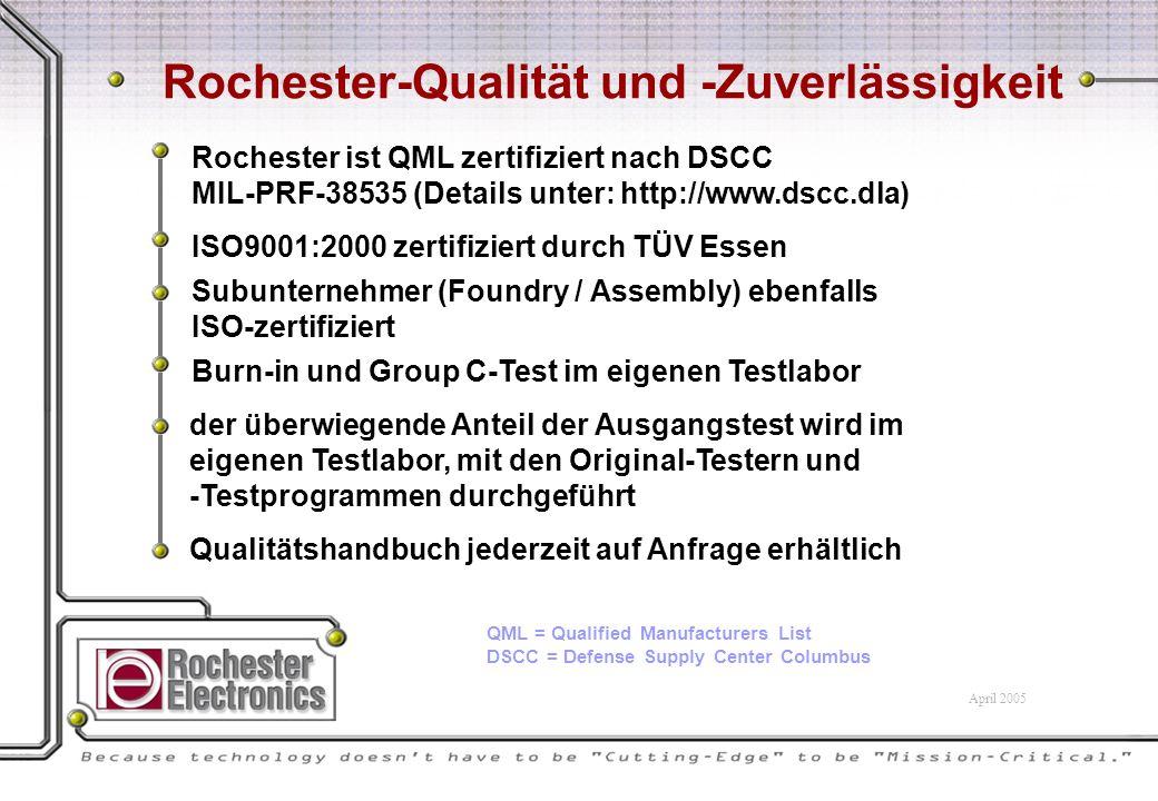Rochester-Qualität und -Zuverlässigkeit Rochester ist QML zertifiziert nach DSCC MIL-PRF-38535 (Details unter: http://www.dscc.dla) ISO9001:2000 zertifiziert durch TÜV Essen Subunternehmer (Foundry / Assembly) ebenfalls ISO-zertifiziert der überwiegende Anteil der Ausgangstest wird im eigenen Testlabor, mit den Original-Testern und -Testprogrammen durchgeführt Burn-in und Group C-Test im eigenen Testlabor Qualitätshandbuch jederzeit auf Anfrage erhältlich QML = Qualified Manufacturers List DSCC = Defense Supply Center Columbus April 2005