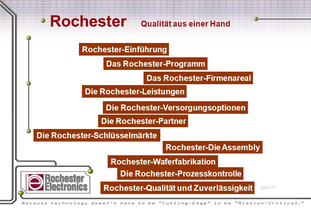 Rochester-Einführung Das Rochester-Programm Das Rochester-Firmenareal Die Rochester-Leistungen Die Rochester-Versorgungsoptionen Die Rochester-Partner Die Rochester-Schlüsselmärkte Rochester-Waferfabrikation Rochester-Die Assembly Die Rochester-Prozesskontrolle Rochester-Qualität und Zuverlässigkeit Rochester Qualität aus einer Hand April 2005