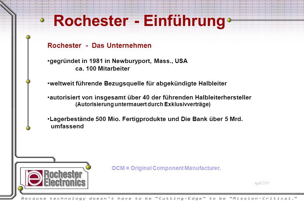 Rochester - Einführung Rochester - Das Unternehmen gegründet in 1981 in Newburyport, Mass., USA ca.