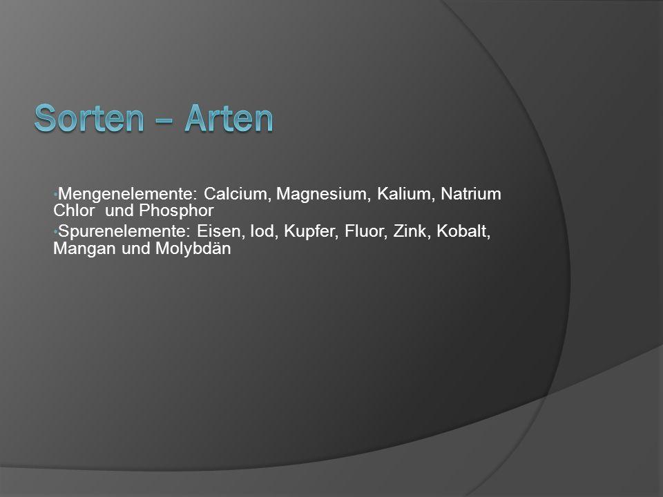 Mengenelemente: Calcium, Magnesium, Kalium, Natrium Chlor und Phosphor Spurenelemente: Eisen, Iod, Kupfer, Fluor, Zink, Kobalt, Mangan und Molybdän