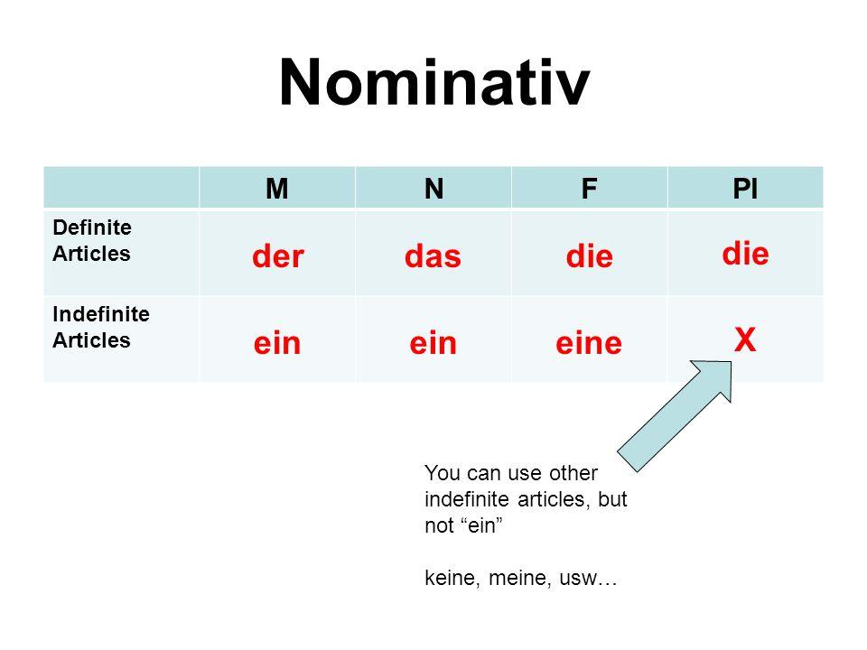 """Nominativ MNFPl Definite Articles derdasdie Indefinite Articles ein eine X You can use other indefinite articles, but not """"ein"""" keine, meine, usw…"""