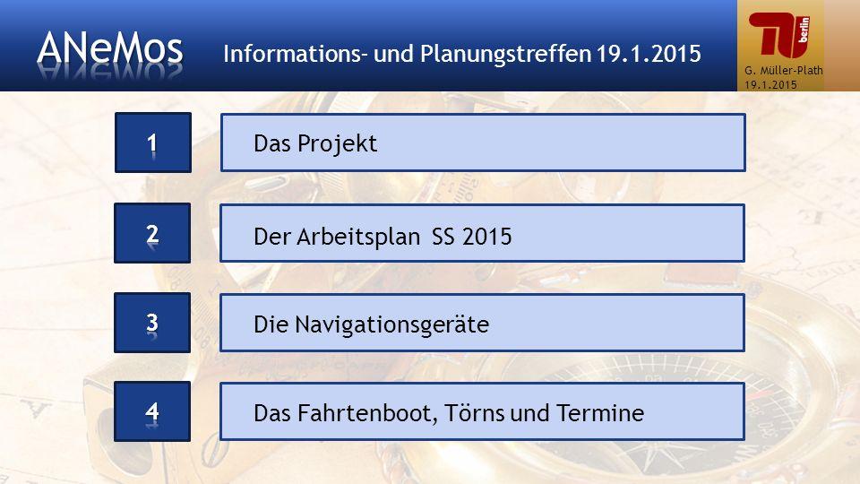 Das Projekt Der Arbeitsplan SS 2015 Das Fahrtenboot, Törns und Termine Die Navigationsgeräte G. Müller-Plath 19.1.2015