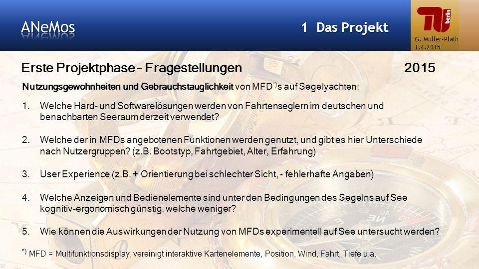 Erste Projektphase – Fragestellungen2015 1 Das Projekt Nutzungsgewohnheiten und Gebrauchstauglichkeit von MFD *) s auf Segelyachten: 1.Welche Hard- un