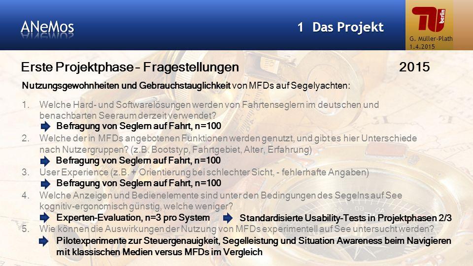 Erste Projektphase – Fragestellungen2015 1 Das Projekt Nutzungsgewohnheiten und Gebrauchstauglichkeit von MFDs auf Segelyachten: 1.Welche Hard- und So