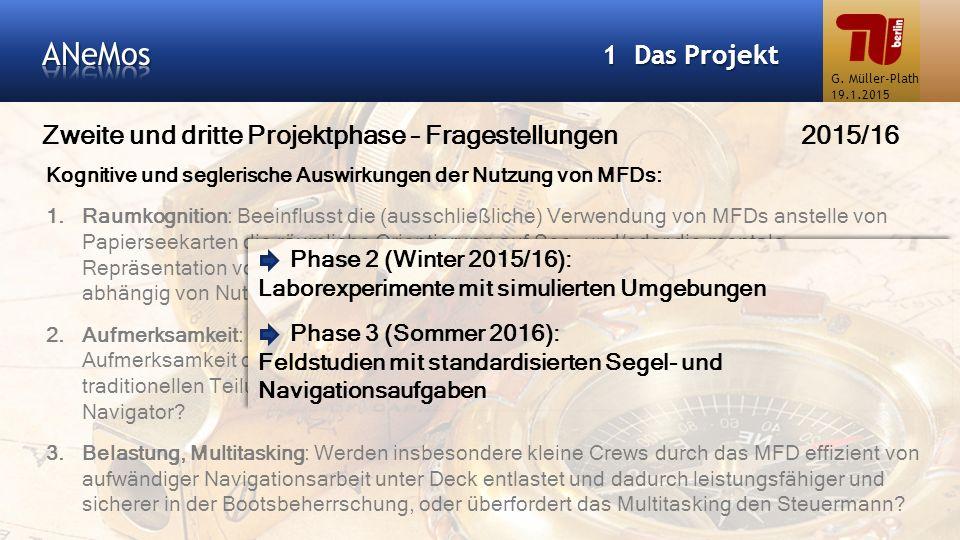 Zweite und dritte Projektphase – Fragestellungen 2015/16 1 Das Projekt Kognitive und seglerische Auswirkungen der Nutzung von MFDs: 1.Raumkognition: B