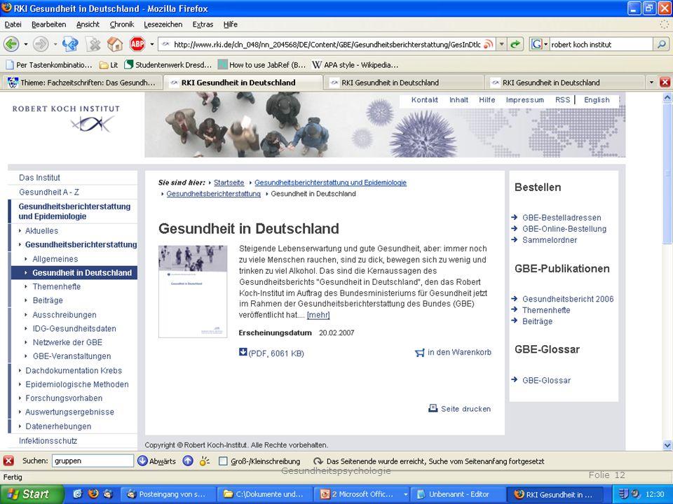 TU Dresden, 23.04.2014 Fragen Gesundheitspsychologie Folie 12