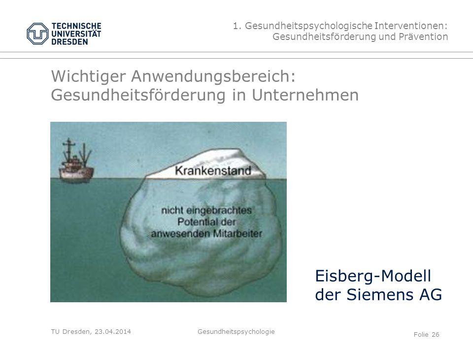 TU Dresden, 23.04.2014 Wichtiger Anwendungsbereich: Gesundheitsförderung in Unternehmen Eisberg-Modell der Siemens AG 1. Gesundheitspsychologische Int
