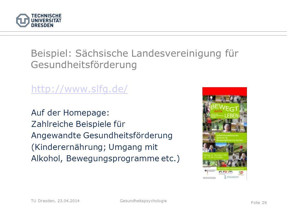 TU Dresden, 23.04.2014 Beispiel: Sächsische Landesvereinigung für Gesundheitsförderung http://www.slfg.de/ Auf der Homepage: Zahlreiche Beispiele für