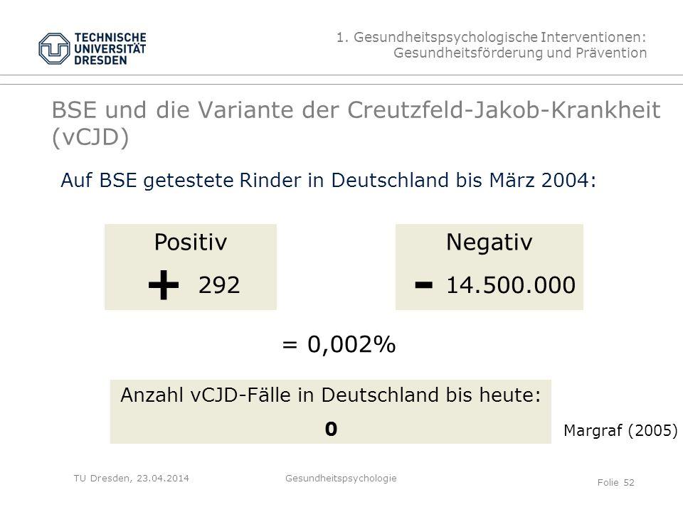 TU Dresden, 23.04.2014 BSE und die Variante der Creutzfeld-Jakob-Krankheit (vCJD) 1. Gesundheitspsychologische Interventionen: Gesundheitsförderung un