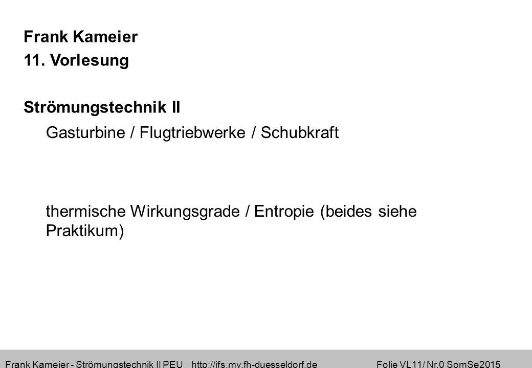 Frank Kameier - Strömungstechnik II PEU http://ifs.mv.fh-duesseldorf.de Folie VL11/ Nr.0 SomSe2015 Frank Kameier 11.