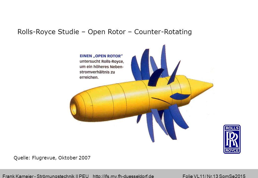 Frank Kameier - Strömungstechnik II PEU http://ifs.mv.fh-duesseldorf.de Folie VL11/ Nr.13 SomSe2015 Quelle: Flugrevue, Oktober 2007 Rolls-Royce Studie – Open Rotor – Counter-Rotating