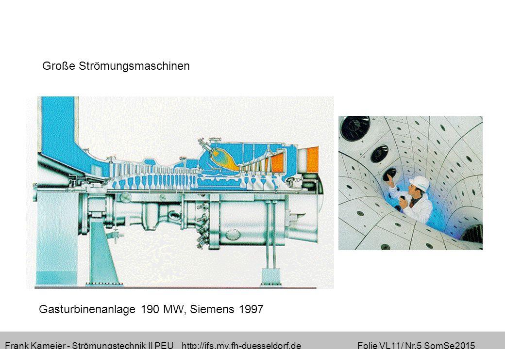 Frank Kameier - Strömungstechnik II PEU http://ifs.mv.fh-duesseldorf.de Folie VL11/ Nr.5 SomSe2015 Gasturbinenanlage 190 MW, Siemens 1997 Große Strömungsmaschinen