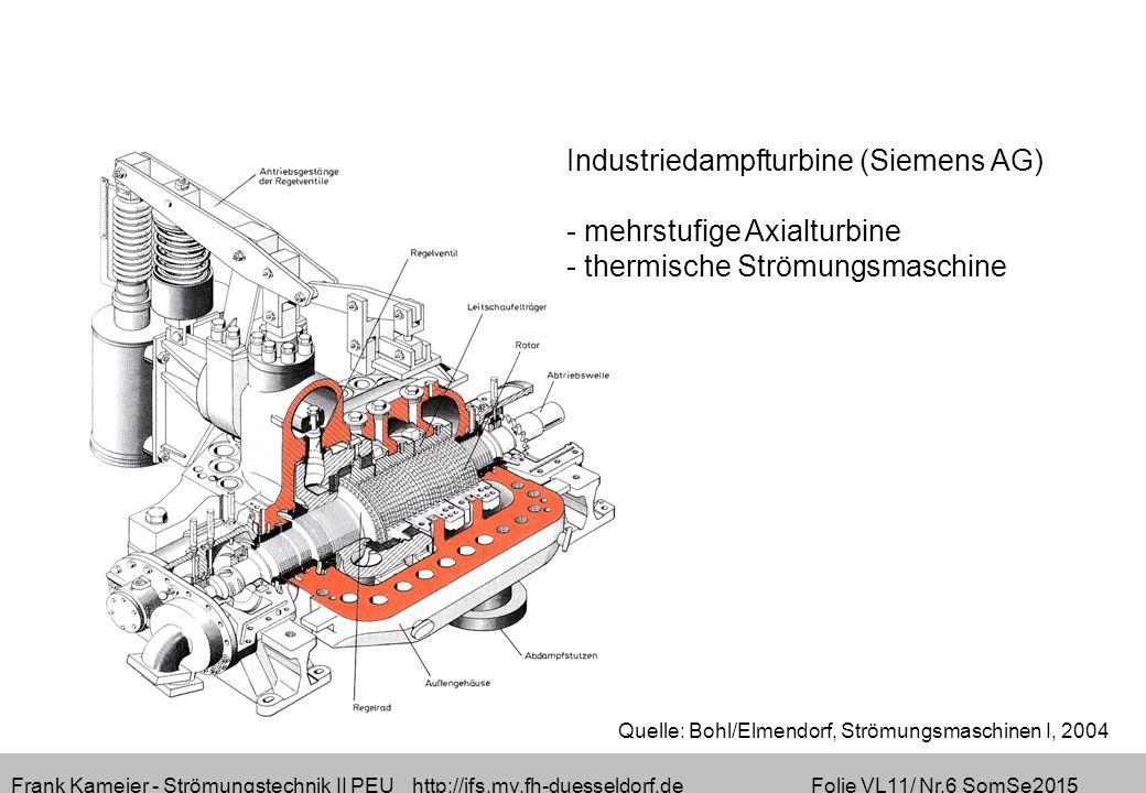 Frank Kameier - Strömungstechnik II PEU http://ifs.mv.fh-duesseldorf.de Folie VL11/ Nr.6 SomSe2015 Industriedampfturbine (Siemens AG) - mehrstufige Axialturbine - thermische Strömungsmaschine Quelle: Bohl/Elmendorf, Strömungsmaschinen I, 2004