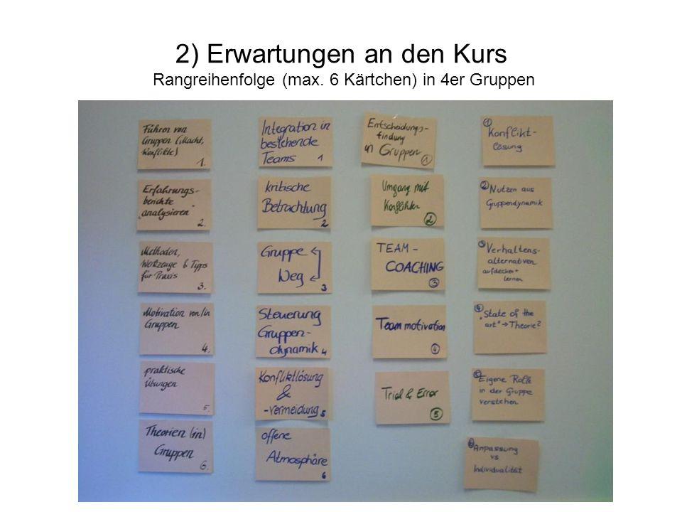 2) Erwartungen an den Kurs Rangreihenfolge (max. 6 Kärtchen) in 4er Gruppen