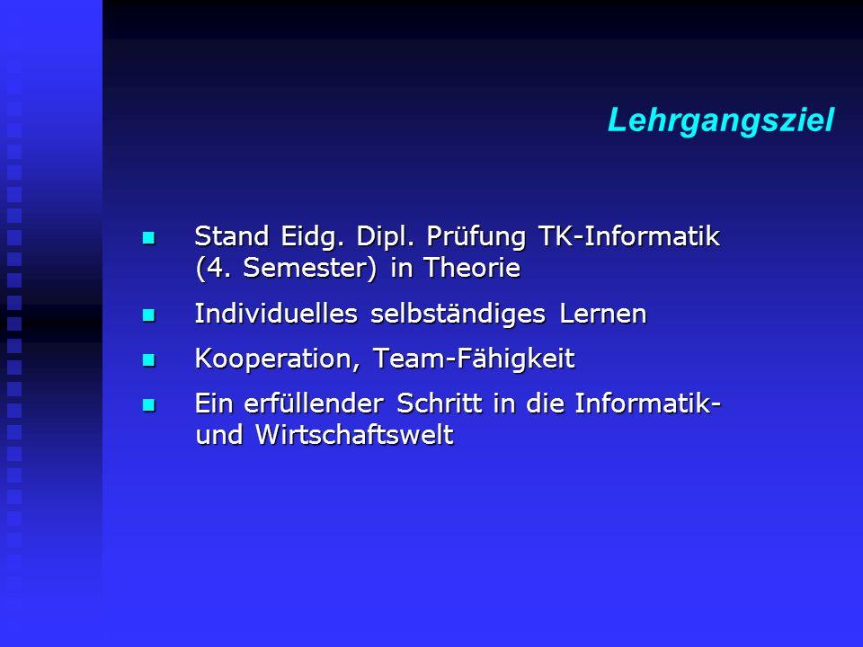 Stand Eidg. Dipl. Prüfung TK-Informatik (4. Semester) in Theorie Stand Eidg.