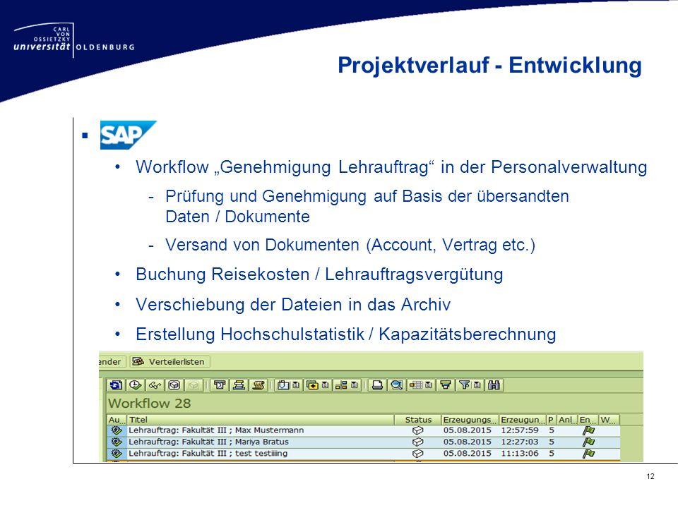 """ Workflow """"Genehmigung Lehrauftrag"""" in der Personalverwaltung -Prüfung und Genehmigung auf Basis der übersandten Daten / Dokumente -Versand von Dokum"""