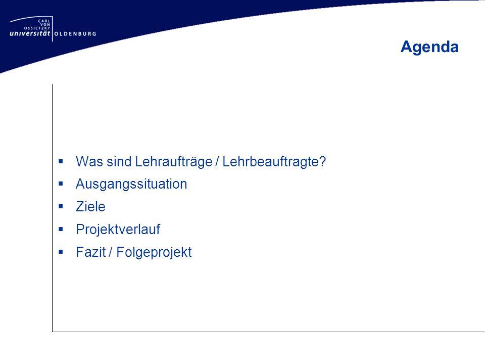  Was sind Lehraufträge / Lehrbeauftragte?  Ausgangssituation  Ziele  Projektverlauf  Fazit / Folgeprojekt Agenda